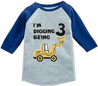 Tstars Construction Party 3rd Birthday Gift 3/4 Sleeve Baseball Jersey Toddler Shirt