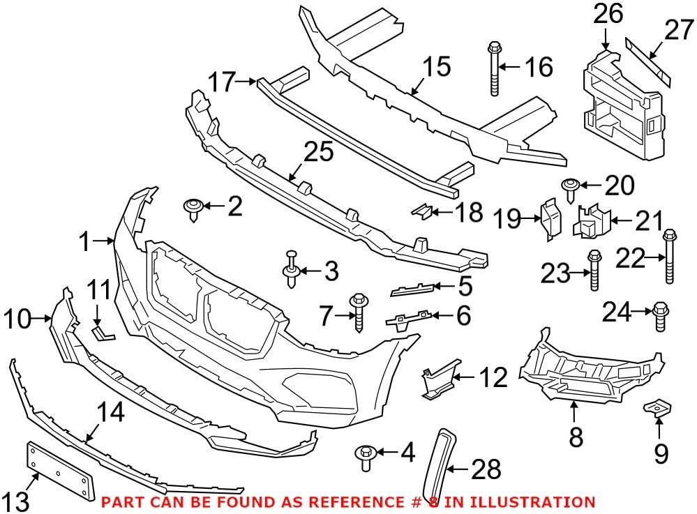 Ranking TOP16 Genuine OEM Front Driver Left Cheap mail order shopping Inner Bracket Cover BMW For Bumper