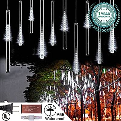 Linsam 30CM / 50CM Waterproof Meteor Shower Rain Lights 10 Tubes Double-sided LED String Light for Xmas Wedding Party Decoration Holiday Colorful