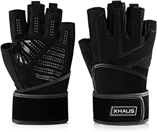 Xhaus Weight Lifting Gym Workout Gloves with Wrist Wrap Support,  Breathable and Non-Slip and Full Palm Protection for Men and Women Weightlifting,  Cross Training,  Cycling,  Crossfit,  Pull ups