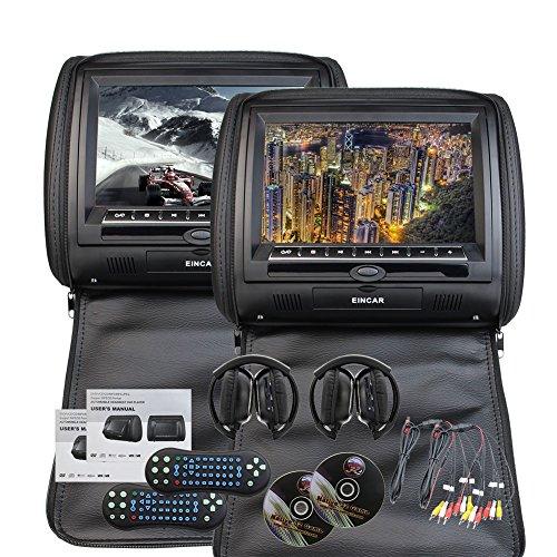 IR casque gratuit x 2 inclus EinCar Universal Paire de Appuie-tête de voiture avec 9 pouces HD numérique double écran Région Lecteur DVD Gratuit pour un émetteur FM IR Support voiture USB SD