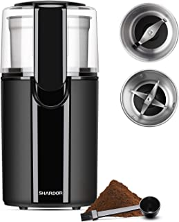 SHARDOR Coffee & Spice Grinders Electric, 2 Removable Stainless Steel Bowls for Dry..