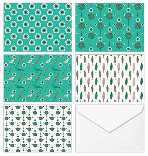 100 All Occasion Assorted Blank Cards – 5 Green Pattern Designs Stationery with White Envelopes and Stickers – Bulk Box Greeting Set of Seamless Symmetrical Design Thank You Notes, 4 x 6 Inch…