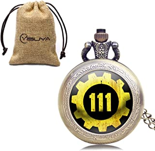 Hot Game Extensions Fallout 4 Shelter Vault 111 Pocket Watces Pendant Brown Quartz Pocket Watches Gift Set with Watch Bag
