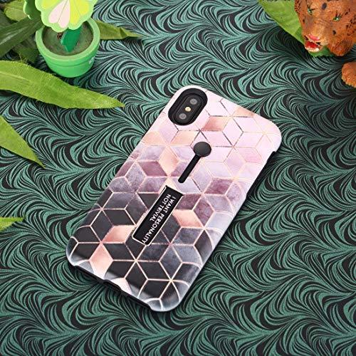XUSUYUNCHUANG-PHONE Case tekening Cover Patroon Ruiten Naadloos Relief Schilderen TPU PC behuizing met standaard functie voor iPhone XR, Lichtroze.