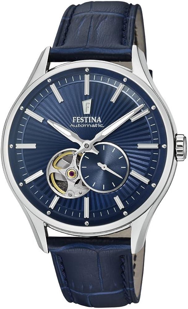 Festina orologio automatico da uomo con cassa in acciaio inossidabilee cinturino in vera pelle F16975/2