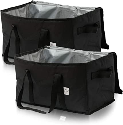 Insu-Tote Insulated Food Delivery Bag [Set of 2] - Insulated Lunch Bag, Large Cooler Bag, Reusable Grocery Bags, Catering Food Warmers for Uber Eats Transport, Thermal Shopping Bag for Frozen Food