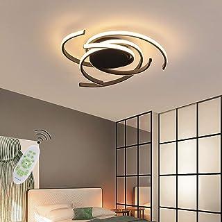 Moderna lámpara LED de techo para salón regulable pantalla de acrílico lámpara de techo de diseño cuadrado lámpara de comedor con mando a distancia lámpara de techo lámpara colgante cocina ,Negro,75cm