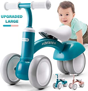 beiens Upgraded Large Baby Balance Bikes, Baby Bicycle for 1 Year Old, Toddler Bike Riding Toys for 10 Months - 36 Months Boys Girls No Pedal 4 Training Wheels Baby First Birthday Gift Bike