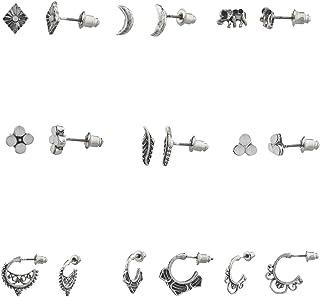 Juego de pendientes de tuerca de LUX accesorios, tono bruñido bohemio (9 piezas)