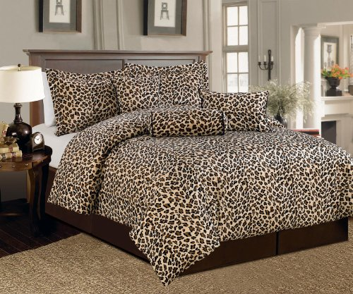 Beautiful 7 Pc Brown and Beige Leopard Print Faux Fur, Qeen Size Comforter Bedding Set