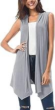 Womens Sleeveless Draped Open Front Cardigan Vest Asymmetric Hem Tops Plus Size