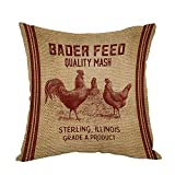 Moslion Vintage Like Chicken Feed Sack Burlap Pillow,Home Decor Throw Pillow Cover Cotton Linen Cushion for Couch/Sofa/Bedroom/Livingroom/Kitchen/Car 18 x 18 inch Square Pillow case