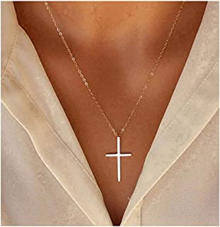 Tiny Cross Pendant Necklace for Women Simple Cross...