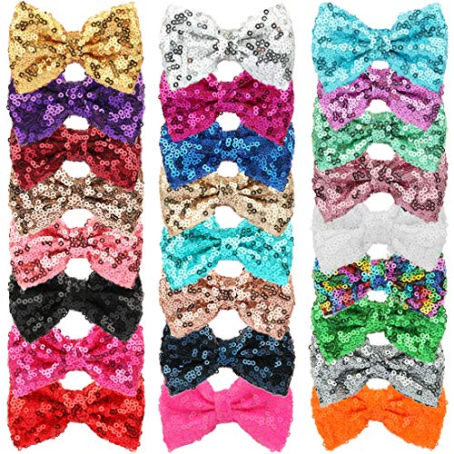 "Price comparison product image XIMA 25pcs Sequin Hairbows With Alligator Clips Girl Hair Accessory 3"" Glitter Bows Hair Clip Sparkly Fabric Hair Bows"