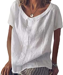 S-Fly Women's Linen Short Sleeve Shirt V Neck Casual Solid Cotton T-Shirts Blouse Tops