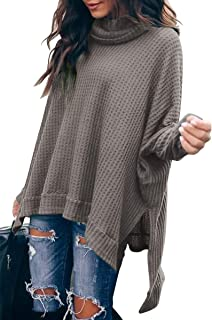 Women Turtleneck Oversized Waffle Knit Batwing Sleeve Loose High Low Hem Side Slit Pullover Sweater Tunic Tops