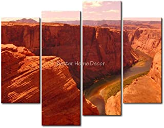 Brown YEHO Art Gallery Painting Horseshoe Bend Valley River Picture Print On Canvas Landscape The Picture