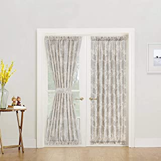 French Door Panel Curtains Paisley Scroll Printed Linen Textured French Door Curtain 72 inches Long French Door Panels for Glass Door Tieback Included 1 Panel Grey