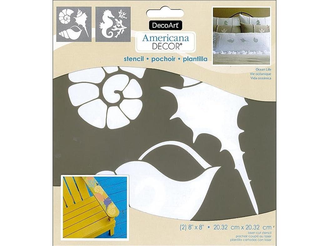 DecoArt DECADS-K.205 Decor Stencil 8x8 Ocean Life Americana Decor Stencil 8x8 Ocean Life