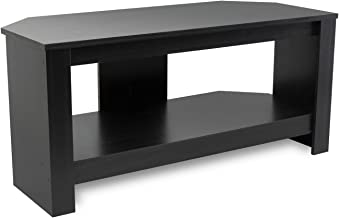 Mount-It! Wood TV Stand and Storage Console for 32, 35, 37 Inch Flat Screen TVs, 35 Lbs Capacity, Black