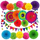 Cojoy 21 Pcs Party Decoration Set, Hanging Paper Fans, Pom Pom Flowers, Paper Bunting Flags and Polka Dot String for Birthday, Wedding, Baby Shower, Fiesta Party Decoration
