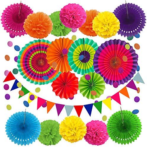 Cojoy Juego de 21 piezas de decoración de fiesta, abanicos de papel...