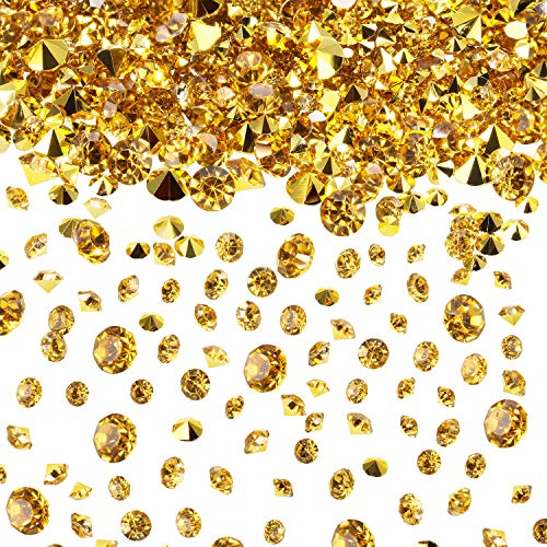 10000 Piezas Diamantes de Acrílico Confeti de Dispersa de Mesa de Boda Transparente para Centro de Mesa Boda Despedida de Soltera Decoraciones de Abalorios de Florero (Dorado, 3/6/ 10 MM)