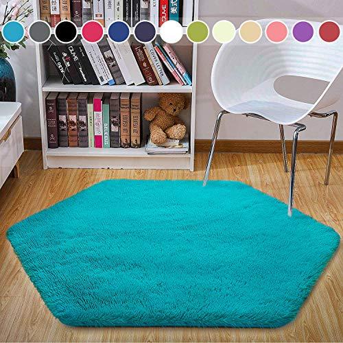 junovo Ultra Soft Rug for Nursery Children Room Baby Room Home Decor Dormitory Hexagon Carpet for Playhouse Princess Tent Kids Play Castle, Diameter 4.6 ft, Teal Blue