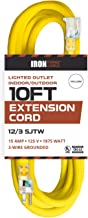 10 Foot Lighted Outdoor Extension Cord - 12/3 SJTW Heavy Duty Yellow Extension Cable with 3 Prong Grounded Plug for Safety - Great for Garden and Major Appliances