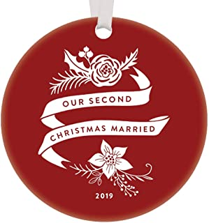 Second Christmas Married 2019 Ornament Two Years Husband Wife Spouse Gift Idea 2nd Holiday Mr & Mrs Anniversary Keepsake Present Pretty Red Boho Floral 3