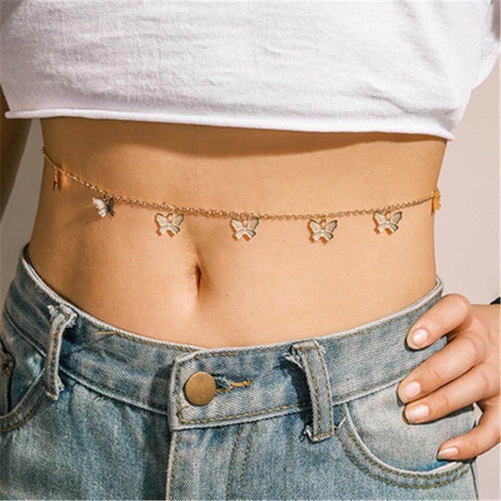 CUTIHO Fashion Ladies Bohemia Crossover Belly Waist Chain Pearl Butterfly Body Jewelry for Women Bikini Summer Beach Accessories- 35193287