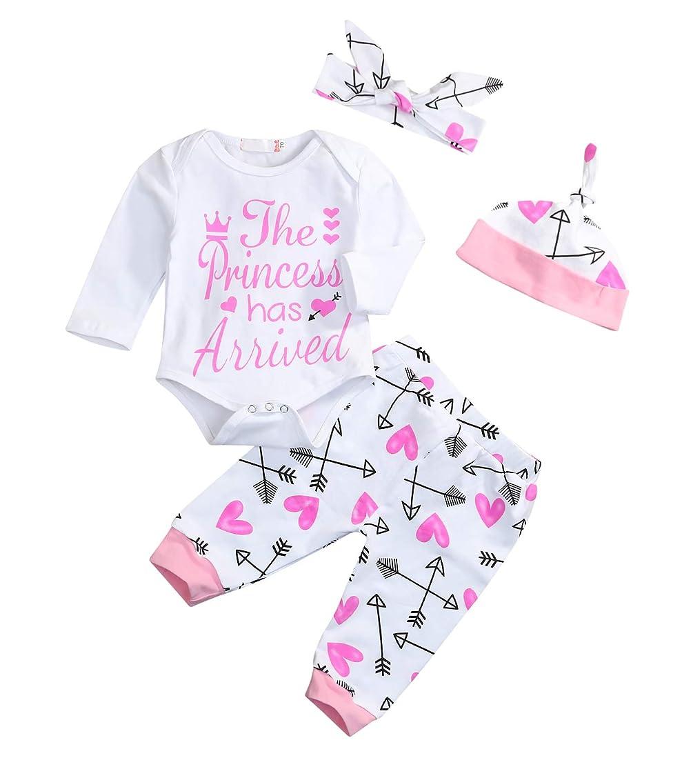 Younger star 4PCS Newborn Baby Girls Rose Wildflower Pattern Clothes+Flower Pant+Hat+Headband Romper vlevutdq4