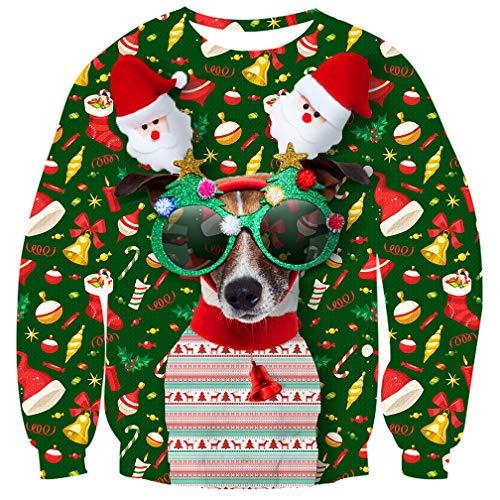 UNIFACO Weihnachtspullover Damen Männer 3D Gedruck Xmas Sweatshirt Herbst Winter Pullover