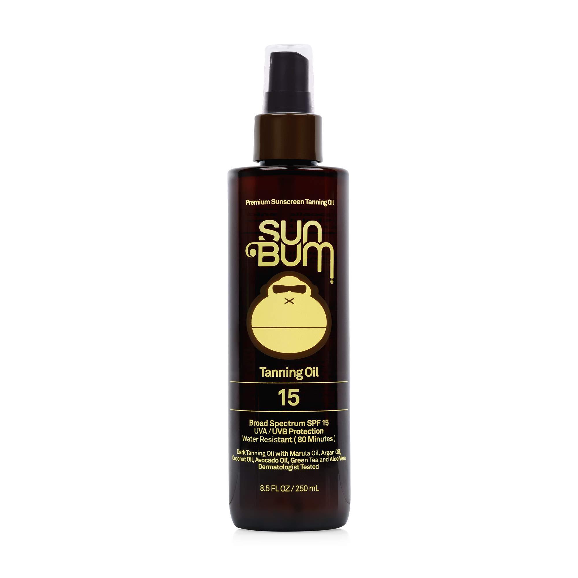 Sun Bum SPF 15 Moisturizing Tanning Oil   Broad Spectrum UVA/UVB Protection   Coconut Oil, Aloe Vera, Hypoallergenic, Paraben Free, Gluten Free, Vegan   8.5 oz Bottle, 1 Count