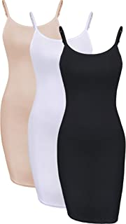 WILLBOND 3 Pieces Basic Cami Women Long Tanks Top Dress with Strap, Solid Color