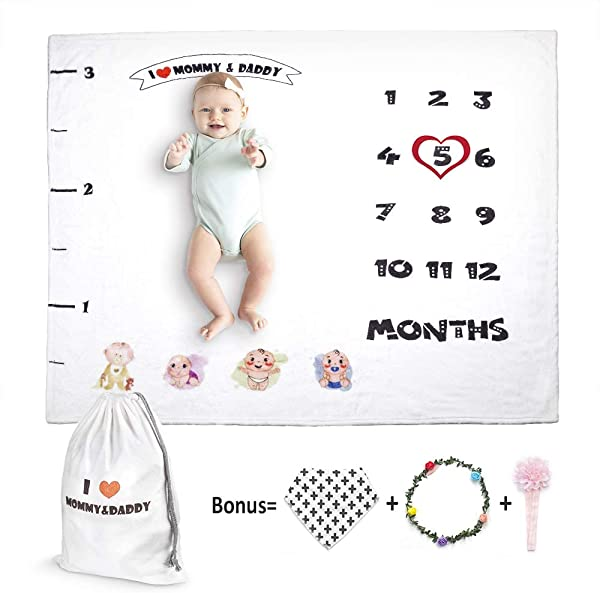Organic Baby Milestone Blanket Track Monthly Growth For Boy Girl Thick Flannel Personalized Month Photo Prop Background Blanket For Mom Newborn Baby Shower Gift Not Wrinkle Fade With Bib 47 X 43