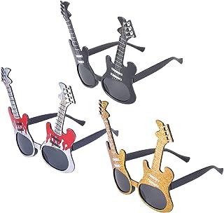 Amosfun 3ピースギターコスチュームメガネナイトパーティーの好意アイウェアドレスアクセサリーフォトブースの小道具パーティーの装飾