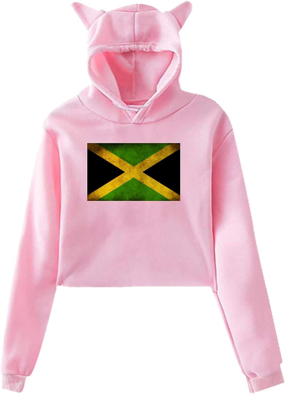 YvoneDBrownn Jamaican Flag 4 Girls' Cat Ear Crop Top Pullover Hoodie Pink