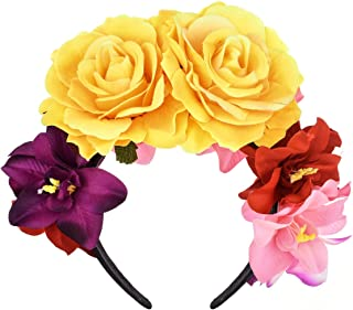 Sponsored Ad - DreamLily Day of The Dead Headband Costume Rose Flower Crown Mexican Headpiece BC40