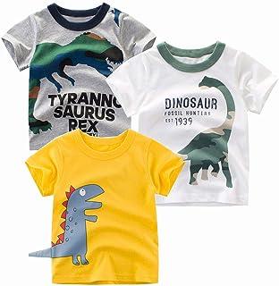 HILEELANG Kids Boy Girl 3-Pack Tee Short Sleeve T-Shirt Comfort Soft Cartoon Dinosaur Crewneck Summer Top