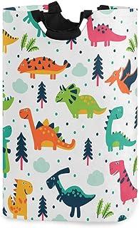 ALARGE Panier à linge pliable et durable avec poignées et motif dinosaure