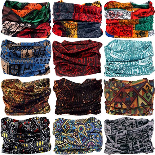 VANCROWN Headwear Head Wrap Sport Headband Sweatband 220 Patterns Magic Scarf 12PCS & 6PCS 12 in 1 (12PCS.Totems 2)