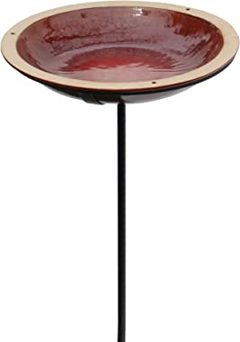 "BYER OF MAINE Circle Post Bird Bath, Porcelain, Glaze Finish, Steel Mounting Post, Autumn Red,14""x14""x30"""