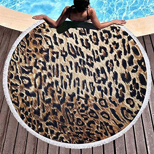 ZUICHU Ronde Stranddoek, 3D Luipaard Print Yoga Mat, Afwasbare Deken Ronde Handdoek, Geschikt voor Strand, Picnic, Yoga, Speeltuin, Familie