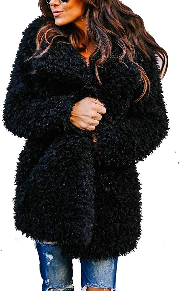 LIYT Women's Autumn Winter Warm Fluffy Faux Fur Coat Jacket Cardigan