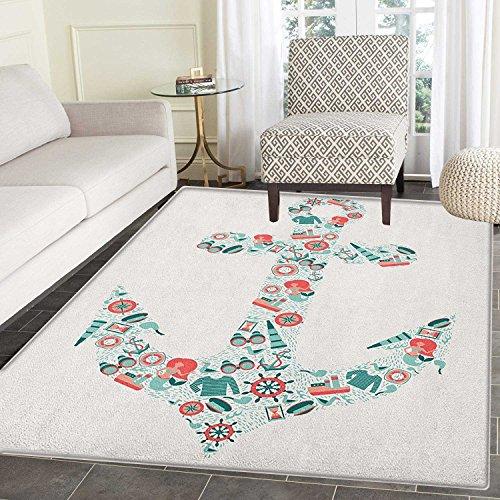 Yaoni Verankern Sie seidig Glatte Teppiche nautischen Symbol Flächenform mit Fernglas Captain Hut Kompass Meerjungfrau Zahlen Boden Matte Muster 2'x 3' Seafoam Coral Teal