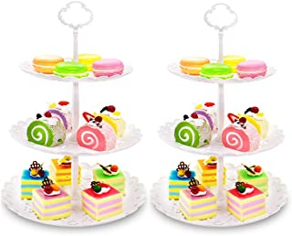 Cupcake Stand,Imillet 2 Pack of Dessert Stand 3 Tier Cake Stand White Fruit Plate Plastic Display Stand for Wedding Home Holiday Birthday Christmas Party(big)
