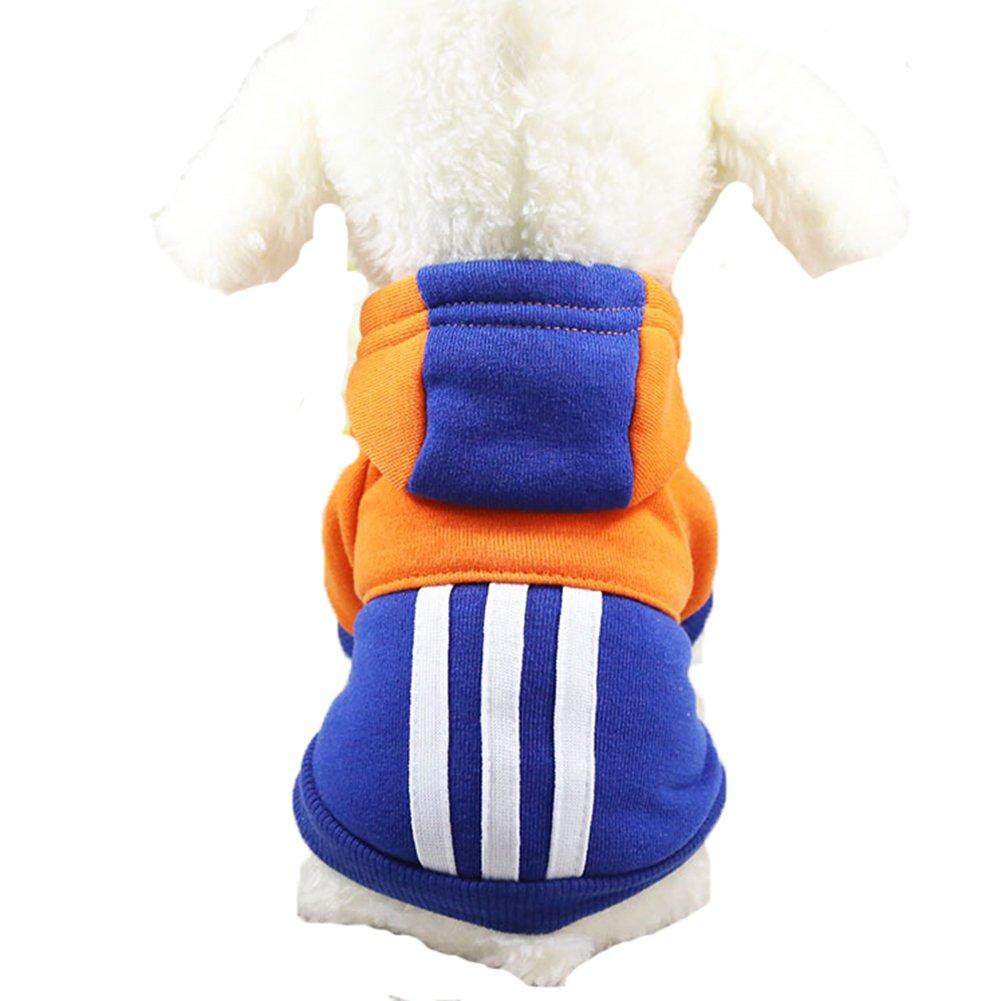 Mummumi 小宠物狗冬季衣服,小狗保暖秋季运动装连帽衫外套,猫防风毛衣 T 恤带帽子,适合小狗吉娃娃、约克郡、梗犬、贵宾犬 Dark Blue + Brown XS