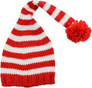 juDanzy Red and White Stripe Christmas Elf Hat for Babies and Toddlers (1-4 Years)